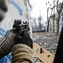 Airsoft 'UZI' machine pistol, Hrushevski street, January 2014